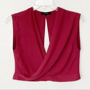 Olivaceous Womens Burgundy Cropped Blouse Large
